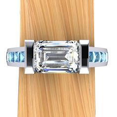 Platinum Diamond Engagement Ring, Over 1 Carat Solitaire VS2 with Blue Diamond Accents - Free Gift Wrapping on Etsy, $11,435.00