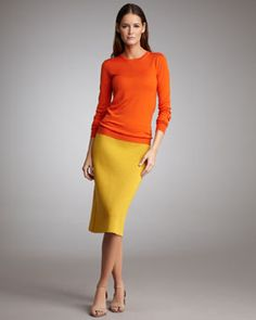 Long Sleeve sweater and tea length skirt #StellaMcCartney