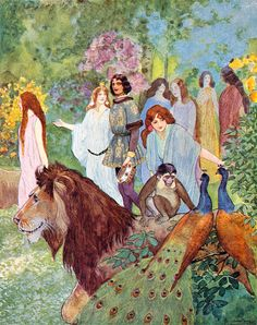 """The Garden of Paradise. From """"Andersen's Fairy Tales"""" illustrated by Artuš Scheiner (1934)"""