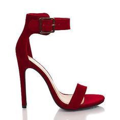 Canter Lipstick Red Lami Delicious Women's Single Sole Ankle Strap High Heels