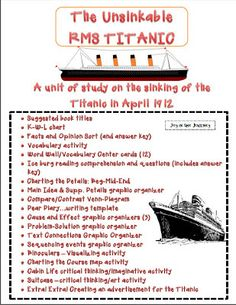 Fun and Engaging Titanic Unit Activities