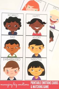 Managing Big Emotions: Printable Emotions Cards and Matching Game. Great for use…                                                                                                                                                                                 More