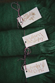 """let's bundle up"" tags for blankets and pashminas - perfect gifts"