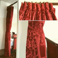 Shish Mahal curtains - hand finished goblet pleat curtains with plain border at the top, fabric front and back as seen from both sides. Pleated Curtains, It Is Finished, Two Piece Skirt Set, Interiors, Fabric, Top, Dresses, Fashion, Ruffle Curtains