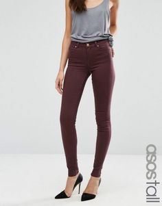 ASOS TALL LISBON Mid Rise Jeans in Blackened Oxblood – Oxblood. Tall Women's Clothing at PrettyLong.com