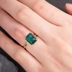 Lab Emerald Engagement Ring Solitaire Rose Gold Ring Plain Band Bridal Wedding Women Anniversary Gift For Her Birthstone May Simple - women gold rings Rose Gold Engagement Ring, Vintage Engagement Rings, Rings Cool, Unique Rings, Emerald Jewelry, Gold Ring, Emerald Stone, Emerald Cut, Emeralds