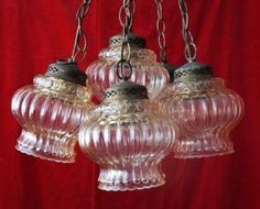 SET-5-ANTIQUE-SALVAGED-STUNNING-FRENCH-GLASS-LAMPS-CHANDELIER