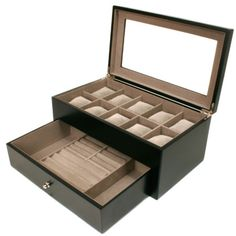 Valet Watches Pens Jewelry Eyeglasses Extra Large Compartments Black TSVL200BK