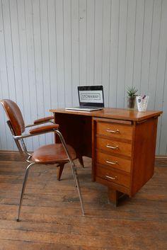 Vintage Mid Century Wooden Pedestal Desk With Gold Brass Handles CAN DELIVER