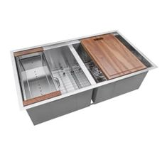 "View the Ruvati RVH8350 Roma 33"" Undermount Double Basin 16 Gauge Stainless Steel Workstation Kitchen Sink with 2 Basin Racks, Cutting Board, Colander, and 2 Basket Strainers at Build.com."