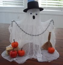"DIY CRAFTS DECORATIONS                    Materials:    24"" x 36"" Cheesecloth  Fabric stiffener such as Stiffy *  Plastic wrap  Two pencils  2 1/2"" Styrofoam ball  Hot glue gun and glue sticks  Two 12mm googly eyes  Scrap of black felt  Empty 20oz water bottle  Assorted items to decorate your ghost such as a piece of chain, pumpkin, hat, witches broom, bail of hay"