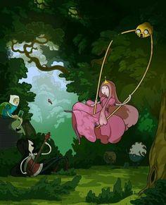 Finn, Marceline♥, Bubblegum & Jake.