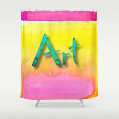 "Art , Artistic Yellow, Orange, Pink Creative Shower Curtain, Watercolor Painting of Original abstract art ""Art 1"" Kathy Morton Stanion  EBSQ"