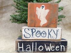 Primitive Ghost Spooky Halloween Shelf Sitter Conversation Wood Blocks