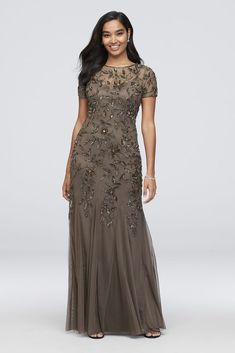 Floral Beaded Dress with Illusion Neckline 091897240 Mob Dresses, Necklines For Dresses, Tea Length Dresses, Cheap Dresses, Bride Dresses, Mother Of Groom Dresses, Mothers Dresses, Mother Of The Bride, Long Mothers Dress