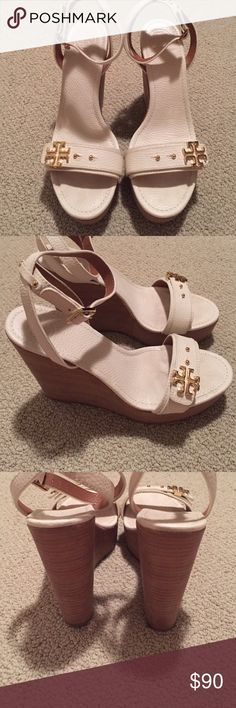Tory Burch white sandals with gold trim Tory Burch white sandals with gold trim, worn once for a wedding Tory Burch Shoes Wedges