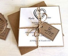 Parcel And Twine Heart Invitation