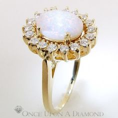 2.64ctw Cabochon Opal & Diamond Halo Right Hand Ring 14K Estate Jewelry