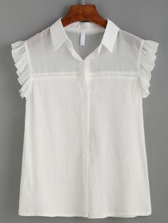 Blusa sin mangas volantes detalle malla transparente -blanco Pretty Outfits, Cute Outfits, Baby Girl Dress Patterns, Moda Chic, Blouse Dress, Blouse Styles, Casual Tops, Blouses For Women, Girls Dresses