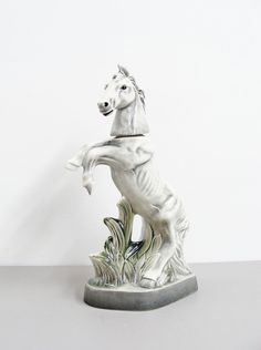 vintage porcelain decanter, equestrian, jim beam collectible