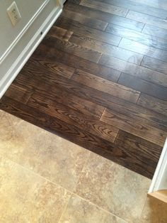 "Beautiful transition between floors. Lauzon Designer Red Oak 4 1/4"" Hardwood Color: Cigarillo, Pearl Meeting Duraceramic by Congoleum Rapolano - Desert Chimney"
