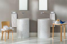 Freestanding round washbasin VISION by Rapsel Corian Sink, Round Sink, Basin Design, Wooden Plates, Mirror Cabinets, Bathroom Fixtures, Bathrooms, Bathroom Furniture, Toilet Paper
