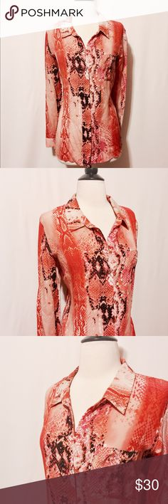 """✨ Coral & Orange Silk Snake Print Blouse Fantastic color & print! Silk button up blouse, with concealed placket, button cuffs, back yoke. Snake print in shades of pink, coral, orange, yellow, white and black. Semi translucent . 100% Silk Hand wash 42"""" Bust 21"""" Armpit to Armpit 42"""" Waist 27"""" Overall length 24"""" Sleeve length Worthington Tops Blouses"""