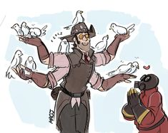 TF2 Fusion AU - Crossbow (Sniper + Medic) with Medic's doves (& Pyro)