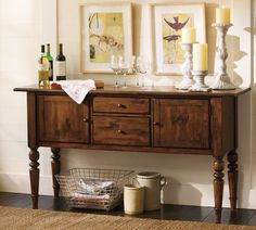 Love this for our entryway!  Tivoli Buffet - Tuscan Chestnut stain | Pottery Barn