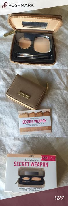 """BareMinerals Secret weapon bundle New in box!  Includes:  Correcting concealer broad spectrum SPF 20 """"light 2"""" Ready touch up veil """"light"""" Mini concealer brush Carry-all clutch. ** cheaper on Merc bareMinerals Makeup"""