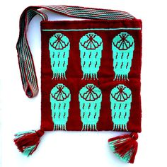 Wixaritari (Huichol) Knit Bag - Sacred Peyote Turqoise