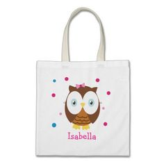 Personailized Cute Owl Tote Bag Kids Girl