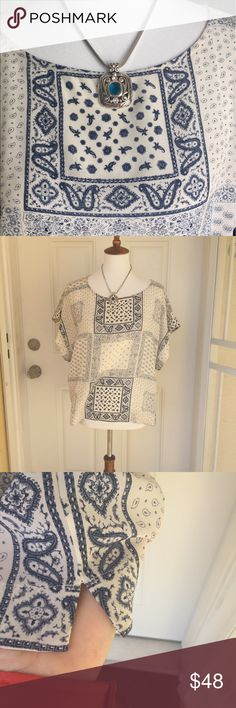 """Madewell - NWOT Kyoto Top in Bandana Mix NWOT. A breezy-meets-boxy silk top with wide kimono-inspired sleeves. Blue patch pattern on cream background. Cropped fit, silk, dry clean, ~24"""" from pit to pit, ~23"""" length. Thank you for visiting🌸‼️ Madewell Tops Crop Tops"""