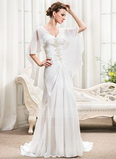 A-Line/Princess Sweetheart Court Train Chiffon Wedding Dress With Ruffle Beading Sequins (002056231)