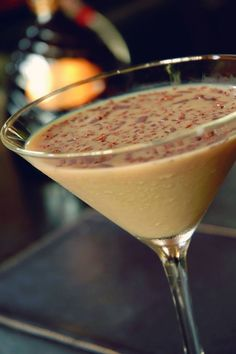 Cinnamon Bun Martini: Rum Chata Caribbean Rum, Van Gogh Dutch Caramel & cream with cinnamon sprinkles