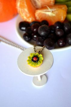 Polymer clay fruit tart pendant-kiwi/blueberries/rasberry Fruit Tart, Miniature Food, Blueberries, Kiwi, Polymer Clay, Miniatures, Textiles, Jewellery, Ceramics