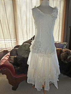 Flapper 1920s wedding dress handmade lace by RetroVintageWeddings, $535.00