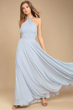 Lulus Exclusive! You'll be a force of nature on the dance floor in the Dance of the Elements Light Blue Maxi Dress! Woven poly drapes into a halter bodice with adjustable strap that loops through a keyhole at the neck, and ties at back. A pintucked waistline accentuates your figure before flowing into a full, maxi skirt. Hidden back zipper/clasp.