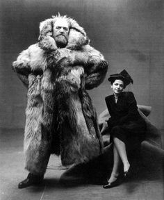 Portrait of arctic explorer Peter Freuchen and his wife, fashion illustrator Dagmar Cohn, 1947 [573 x 700] : HistoryPorn
