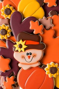 Scarecrow Fall Cookies | The Bearfoot Baker Fall Cookies | Autumn Cookies | Fall Cookie Inspiration | Decorated Cookies | Pumpkin Cookies | Scarecrow Cookies | Leave Cookies | Roll Out Cookies | Sunflower Cookies | Candy Corn Cookies | The Bearfoot Baker