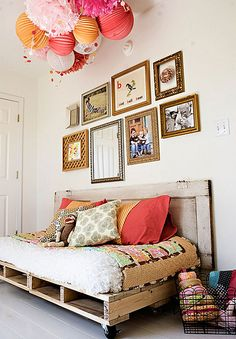 Crate Bed, colors, frames, i love everything about this room