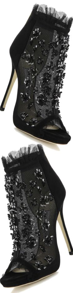 Jimmy Choo ~ Keri Embroidered Mesh & Suede Booties