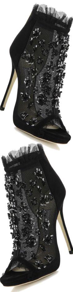Jimmy Choo ~ Keri Embroidered Mesh & Suede Booties