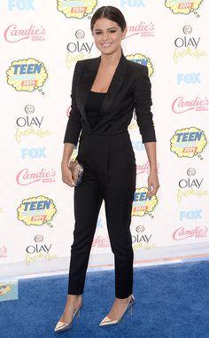 Selena Gomez looks elegant in her Saint Laurent lady tux.
