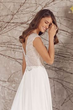 Justin Alexander - Style Chiffon A-Line Gown with Beaded Scallop Bodice and Cap Sleeves Corsage, Plunging Neckline Style, Dream Wedding Dresses, Wedding Gowns, Justin Alexander Bridal, Bridal Gallery, Blush Bridal, A Line Gown, Chiffon Skirt