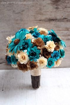 Brown, Copper, Teal and Ivory  Bouquet  Made of Wood  Flowers
