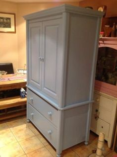 Pine Wardrobe Painted Shabby Chic Comes In 2 Parts Bottom Has 2 Drawers | eBay