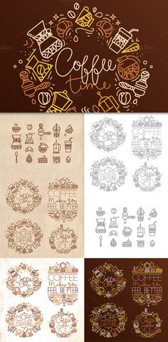 Coffee flat icons by Anna on Creative Market