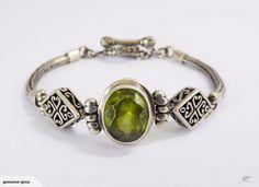 Sterling Silver & Peridot fob bracelet