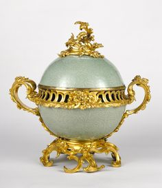 Mounted Lidded Bowl; Unknown; China; porcelain about 1720; mounts about 1745 - 1749; Hard-paste porcelain; colored enamel decoration; gilt bronze mounts; 40 x 38.1 cm (15 3/4 x 15 in.); 74.DI.19; J. Paul Getty Museum, Los Angeles, California